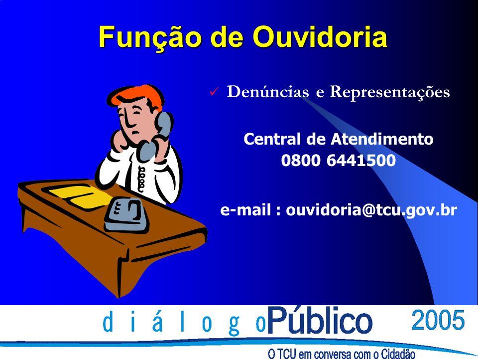 Função de Ouvidoria Denúncias e Representações Central de Atendimento 0800 6441500 e-mail : ouvidoria@tcu.gov.br