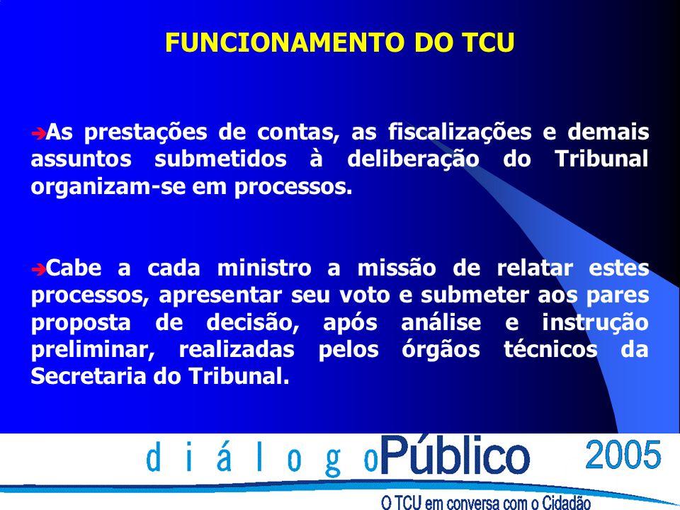 FUNCIONAMENTO DO TCU As prestações de contas, as fiscalizações e demais assuntos submetidos à deliberação do Tribunal organizam-se em processos.