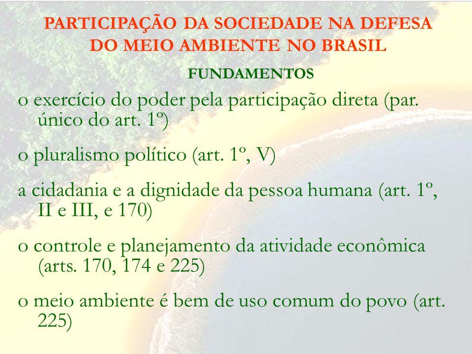 A PROTEÇÃO DO MEIO AMBIENTE NO BRASIL Missão do Art. 225, Constituição da República: Todos têm direito ao meio ambiente ecologicamente equilibrado, be