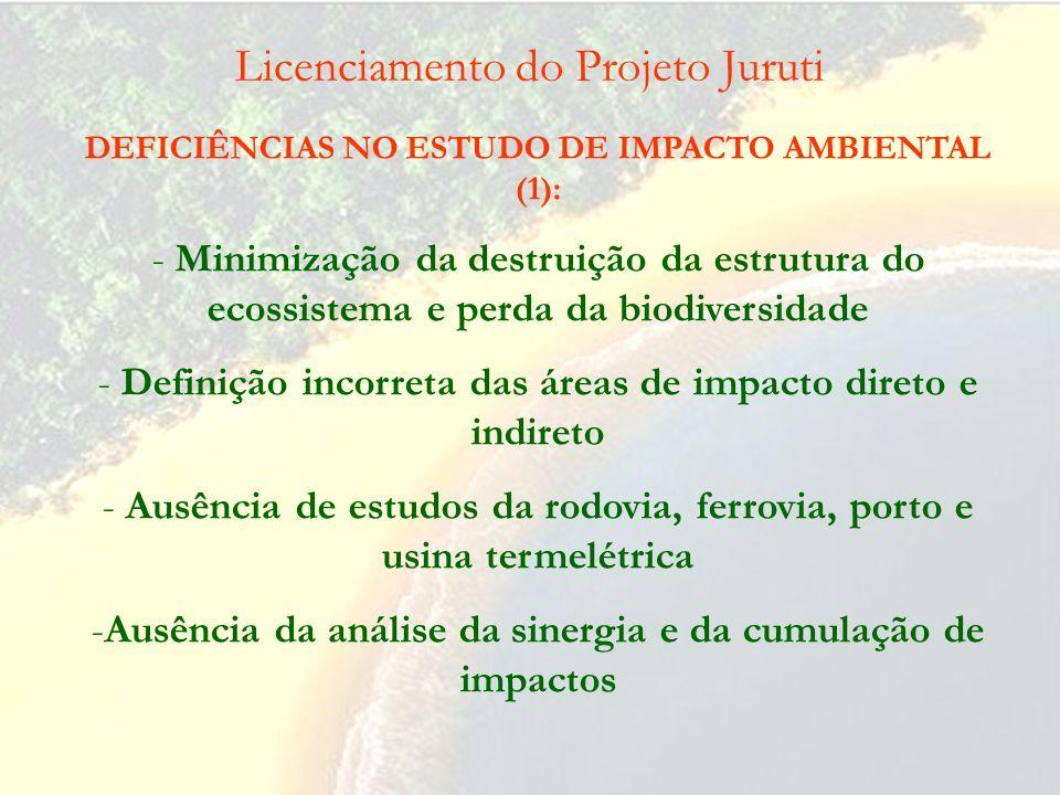 Licenciamento do Projeto Juruti IMPACTOS AMBIENTAIS (1): - Destruição da estrutura do ecossistema e perda da biodiversidade - Ampla extensão territori