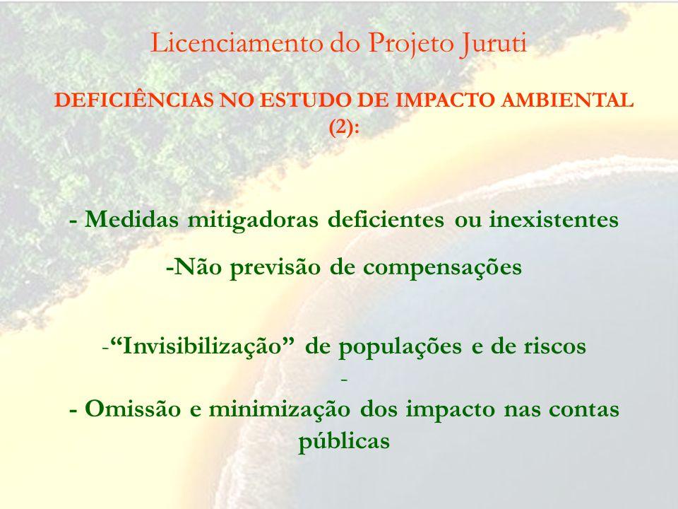 Licenciamento do Projeto Juruti DEFICIÊNCIAS NO ESTUDO DE IMPACTO AMBIENTAL (1): - Minimização da destruição da estrutura do ecossistema e perda da bi