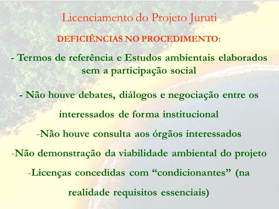 Licenciamento do Projeto Juruti DEFICIÊNCIAS NO ESTUDO DE IMPACTO AMBIENTAL (2): - Medidas mitigadoras deficientes ou inexistentes -Não previsão de co