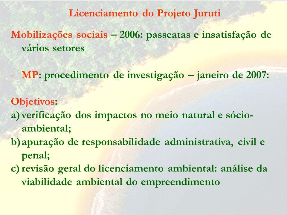 - Pedido de AP para Juruti Velho – negado pelo Coema – maio 2005 - Licença Prévia (com mais de 50 condicionantes) – junho 2005 - Licença de Instalação