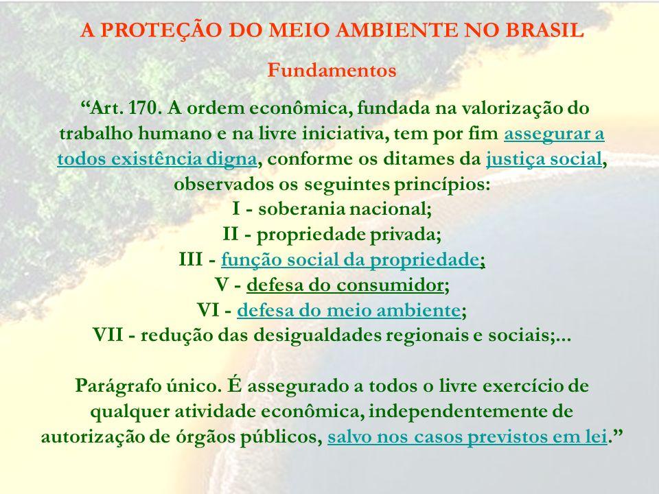 A PROTEÇÃO DO MEIO AMBIENTE NO BRASIL Fundamentos Constituição da República: Art. 3º Constituem objetivos fundamentais da República Federativa do Bras