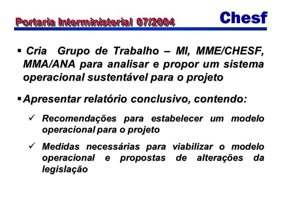 Cria Grupo de Trabalho – MI, MME/CHESF, MMA/ANA para analisar e propor um sistema operacional sustentável para o projeto Cria Grupo de Trabalho – MI, MME/CHESF, MMA/ANA para analisar e propor um sistema operacional sustentável para o projeto Apresentar relatório conclusivo, contendo: Apresentar relatório conclusivo, contendo: Recomendações para estabelecer um modelo operacional para o projeto Recomendações para estabelecer um modelo operacional para o projeto Medidas necessárias para viabilizar o modelo operacional e propostas de alterações da legislação Medidas necessárias para viabilizar o modelo operacional e propostas de alterações da legislação Portaria Interministerial 07/2004