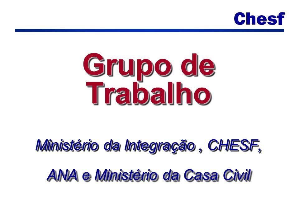 Grupo de Trabalho Ministério da Integração, CHESF, ANA e Ministério da Casa Civil
