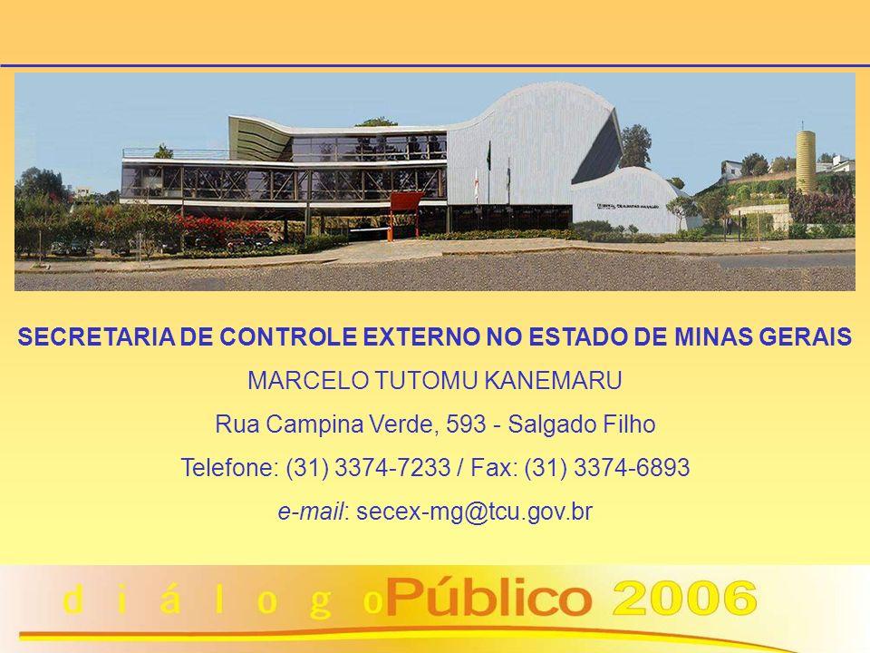 SECRETARIA DE CONTROLE EXTERNO NO ESTADO DE MINAS GERAIS MARCELO TUTOMU KANEMARU Rua Campina Verde, 593 - Salgado Filho Telefone: (31) 3374-7233 / Fax
