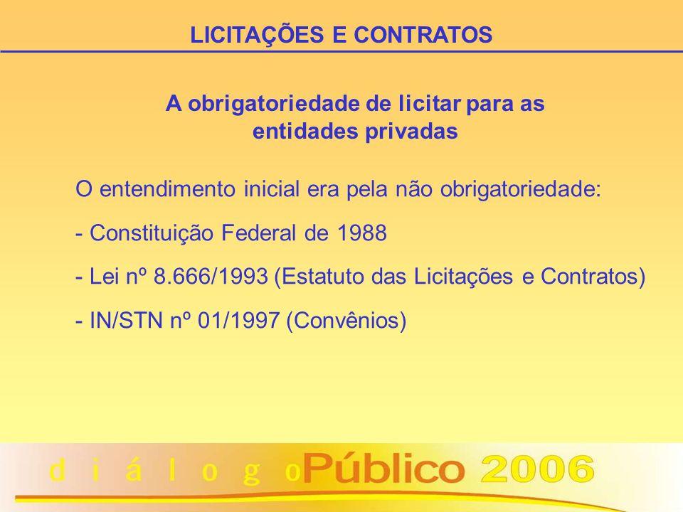 O entendimento inicial era pela não obrigatoriedade: - Constituição Federal de 1988 - Lei nº 8.666/1993 (Estatuto das Licitações e Contratos) - IN/STN