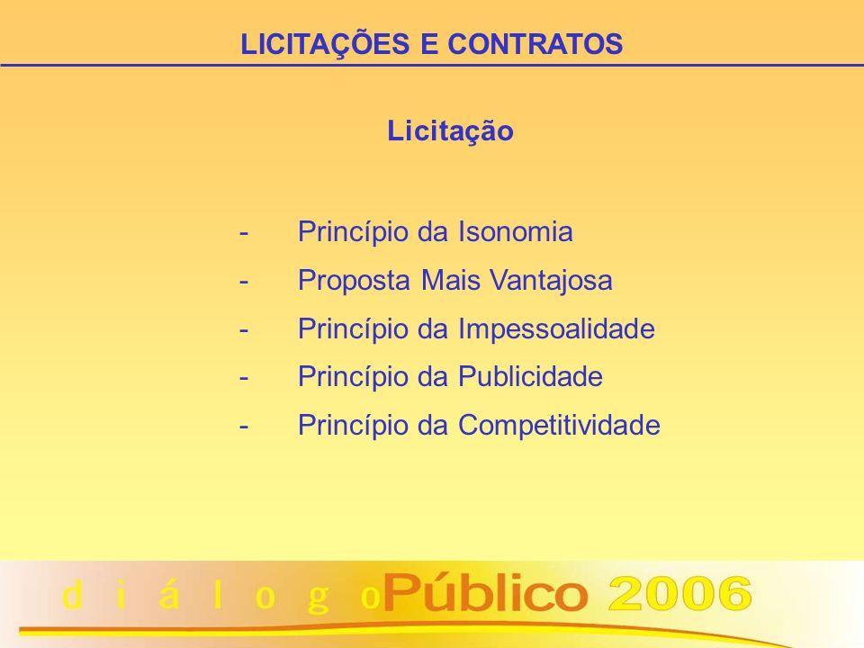 Licitação - Princípio da Isonomia - Proposta Mais Vantajosa - Princípio da Impessoalidade - Princípio da Publicidade - Princípio da Competitividade LI