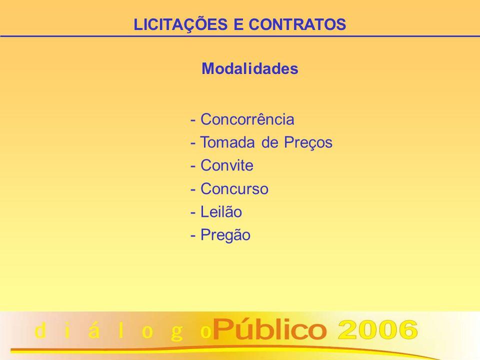 Modalidades - Concorrência - Tomada de Preços - Convite - Concurso - Leilão - Pregão LICITAÇÕES E CONTRATOS