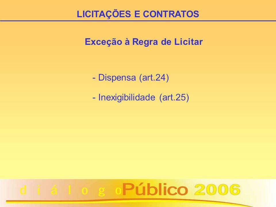 Exceção à Regra de Licitar - Dispensa (art.24) - Inexigibilidade (art.25) LICITAÇÕES E CONTRATOS