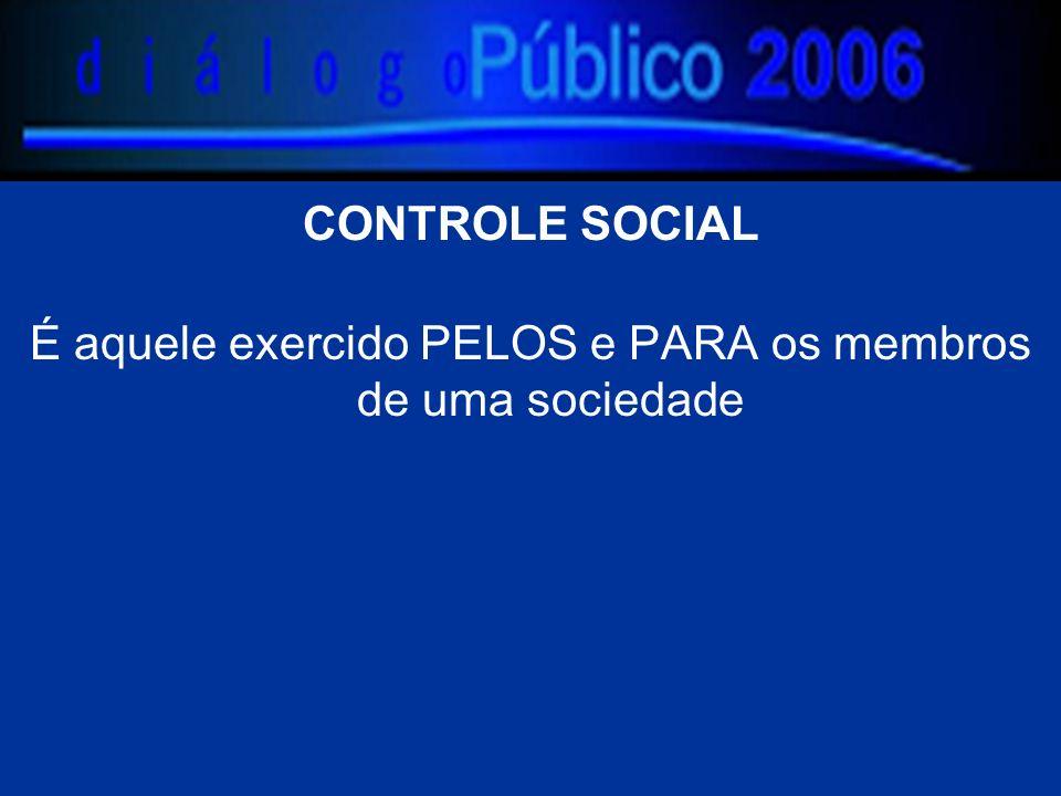 CONTROLE SOCIAL É aquele exercido PELOS e PARA os membros de uma sociedade