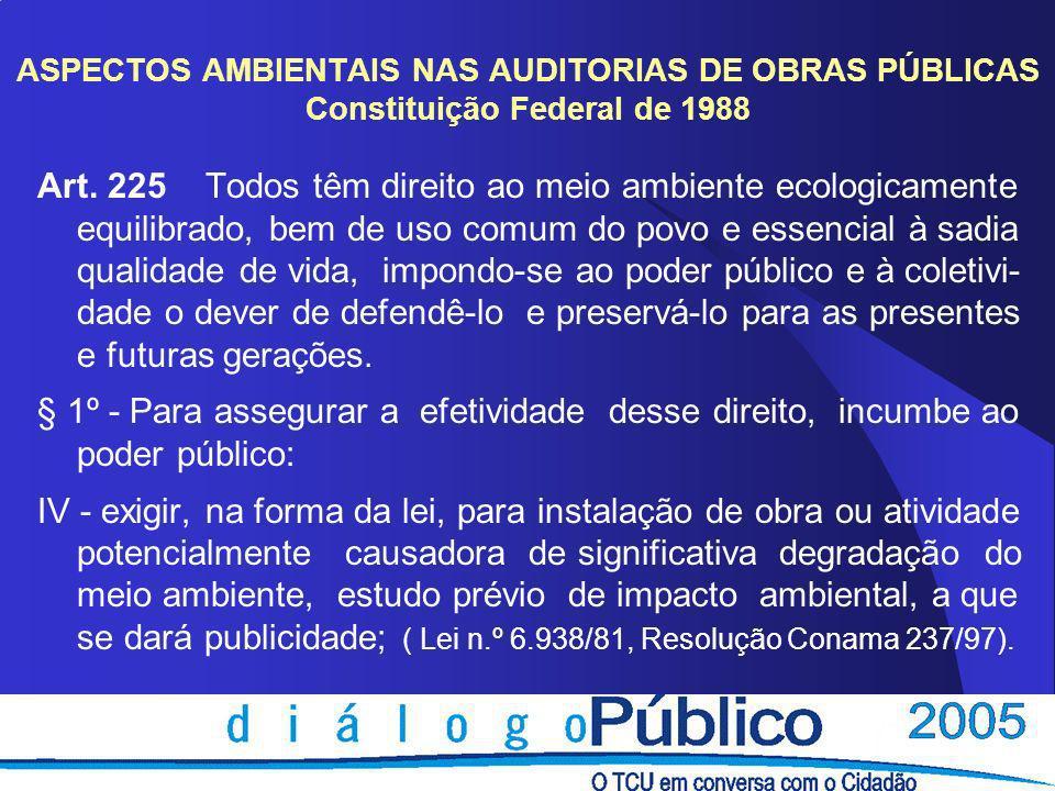 ASPECTOS AMBIENTAIS NAS AUDITORIAS DE OBRAS PÚBLICAS Foco além da questão documental dos licenciamentos; Parcerias com órgãos ambientais locais; Conscientização de meio ambiente como patrimônio público; Inclusão de questões ambientais em processos de fiscalizações.