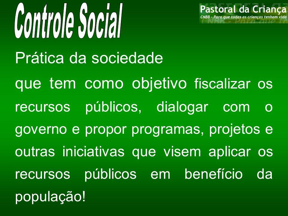 Prática da sociedade que tem como objetivo fiscalizar os recursos públicos, dialogar com o governo e propor programas, projetos e outras iniciativas q