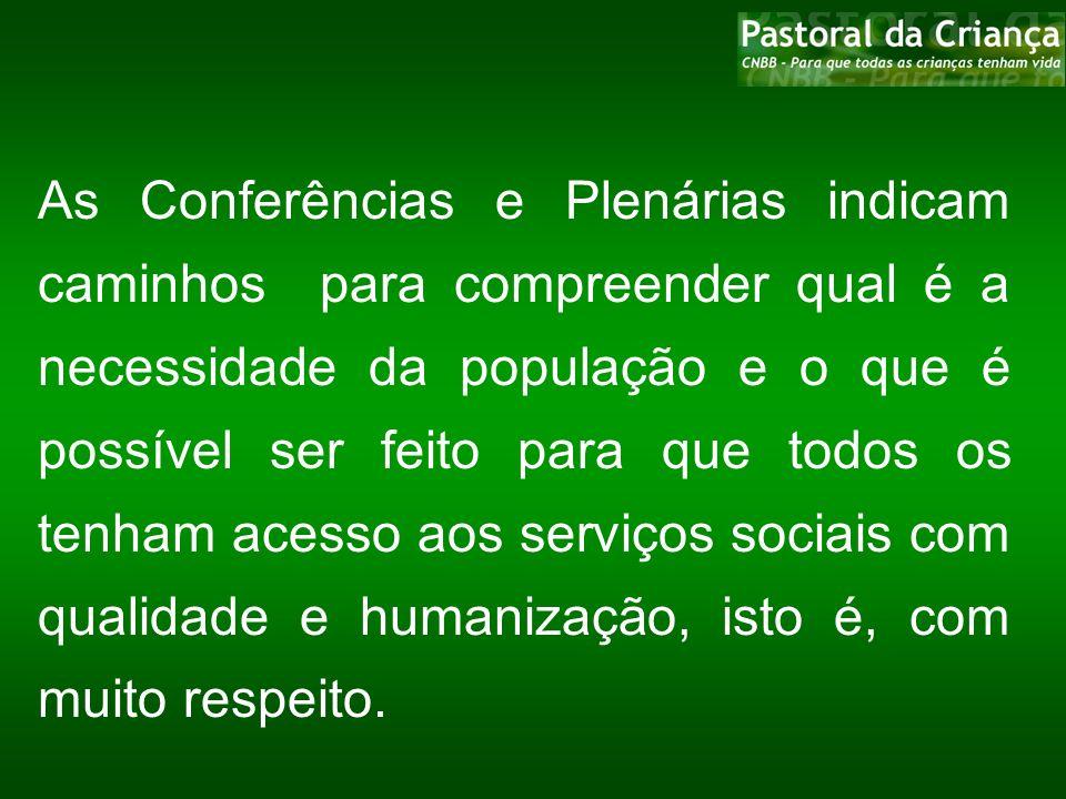 As Conferências e Plenárias indicam caminhos para compreender qual é a necessidade da população e o que é possível ser feito para que todos os tenham