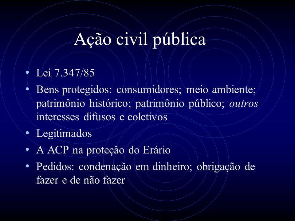 Ação civil pública Lei 7.347/85 Bens protegidos: consumidores; meio ambiente; patrimônio histórico; patrimônio público; outros interesses difusos e co