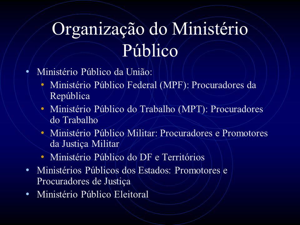 Organização do Ministério Público Ministério Público da União: Ministério Público Federal (MPF): Procuradores da República Ministério Público do Traba