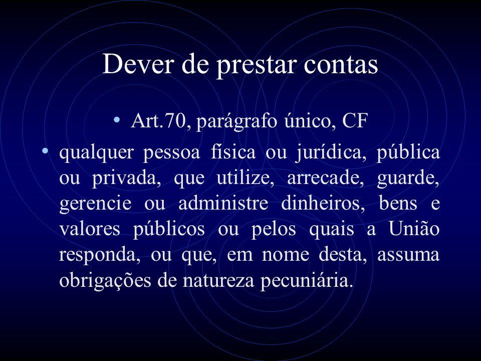 Dever de prestar contas Art.70, parágrafo único, CF qualquer pessoa física ou jurídica, pública ou privada, que utilize, arrecade, guarde, gerencie ou