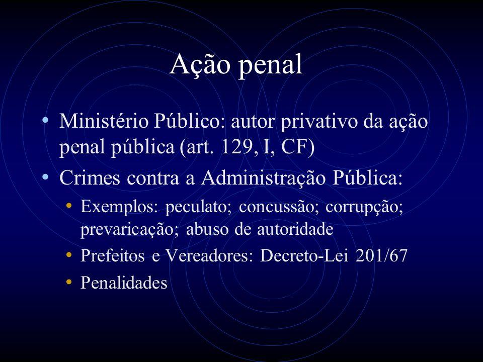 Ação penal Ministério Público: autor privativo da ação penal pública (art. 129, I, CF) Crimes contra a Administração Pública: Exemplos: peculato; conc