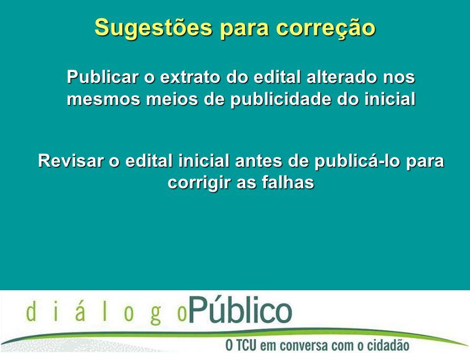 Sugestões para correção Publicar o extrato do edital alterado nos mesmos meios de publicidade do inicial Revisar o edital inicial antes de publicá-lo