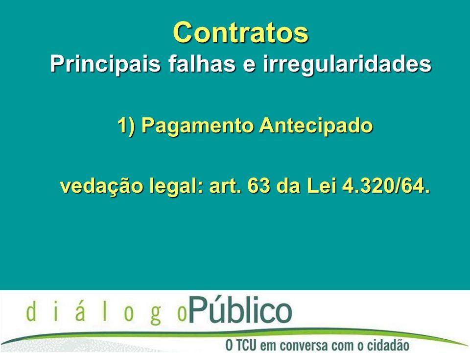 Contratos Principais falhas e irregularidades 1) Pagamento Antecipado vedação legal: art. 63 da Lei 4.320/64.