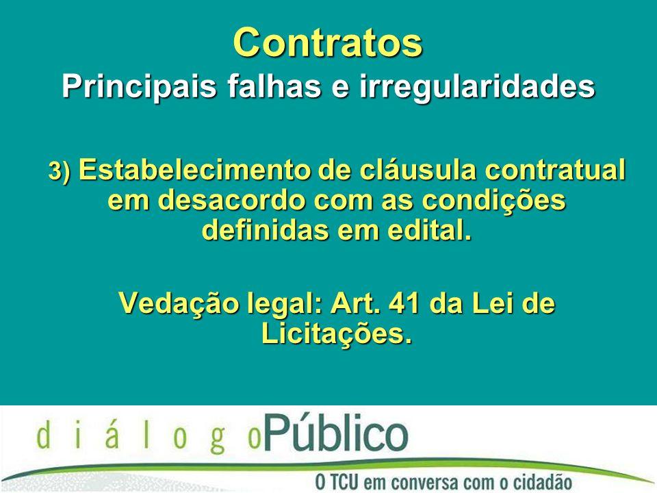 Contratos Principais falhas e irregularidades 3) Estabelecimento de cláusula contratual em desacordo com as condições definidas em edital. Vedação leg