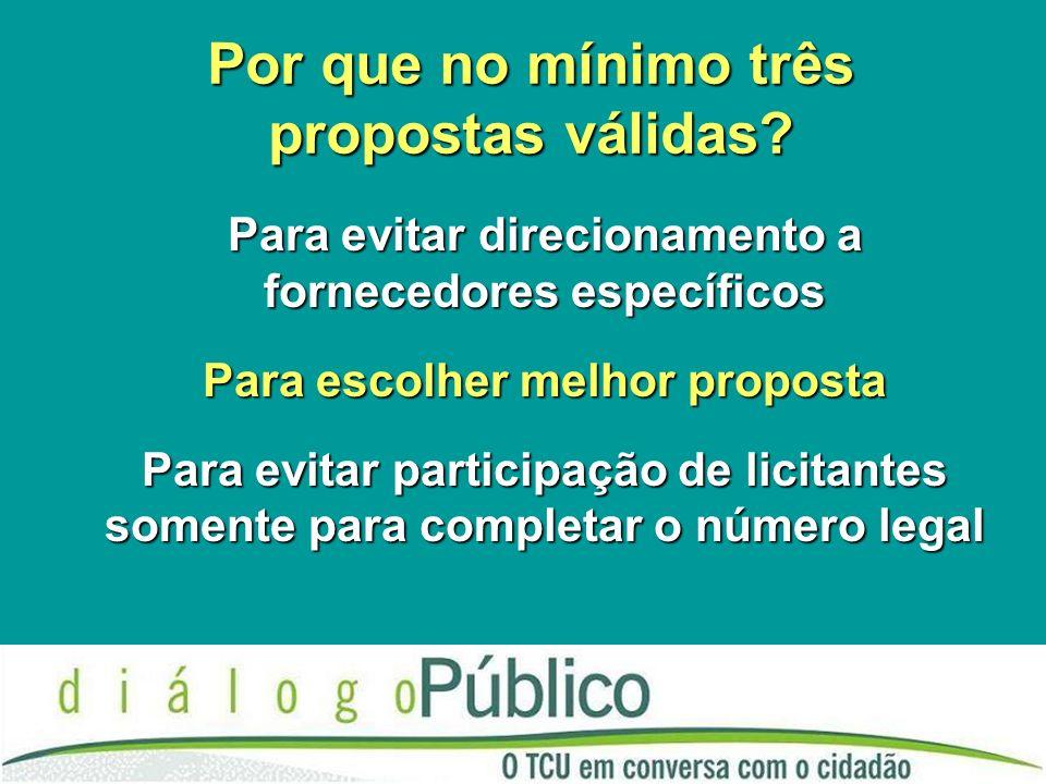 Por que no mínimo três propostas válidas? Para evitar direcionamento a fornecedores específicos Para escolher melhor proposta Para evitar participação