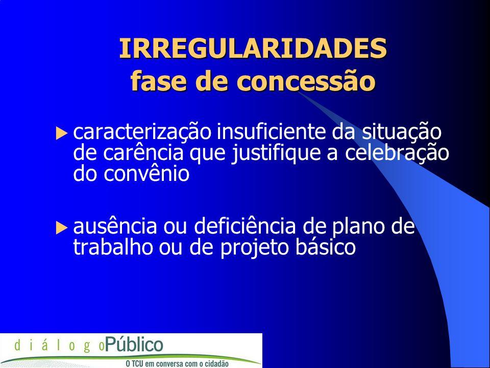 caracterização insuficiente da situação de carência que justifique a celebração do convênio ausência ou deficiência de plano de trabalho ou de projeto