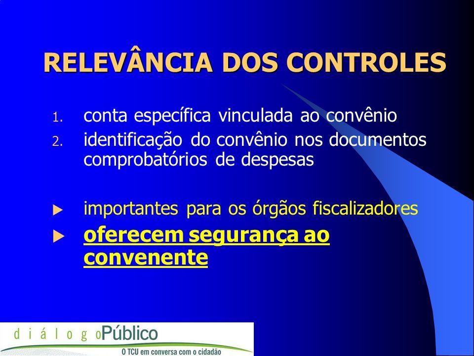 RELEVÂNCIA DOS CONTROLES 1. conta específica vinculada ao convênio 2. identificação do convênio nos documentos comprobatórios de despesas importantes