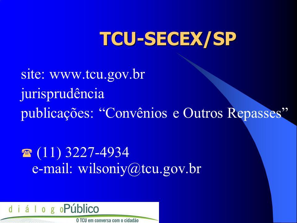 TCU-SECEX/SP TCU-SECEX/SP site: www.tcu.gov.br jurisprudência publicações: Convênios e Outros Repasses (11) 3227-4934 e-mail: wilsoniy@tcu.gov.br
