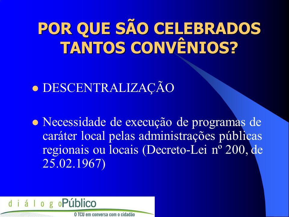 POR QUE SÃO CELEBRADOS TANTOS CONVÊNIOS? DESCENTRALIZAÇÃO Necessidade de execução de programas de caráter local pelas administrações públicas regionai