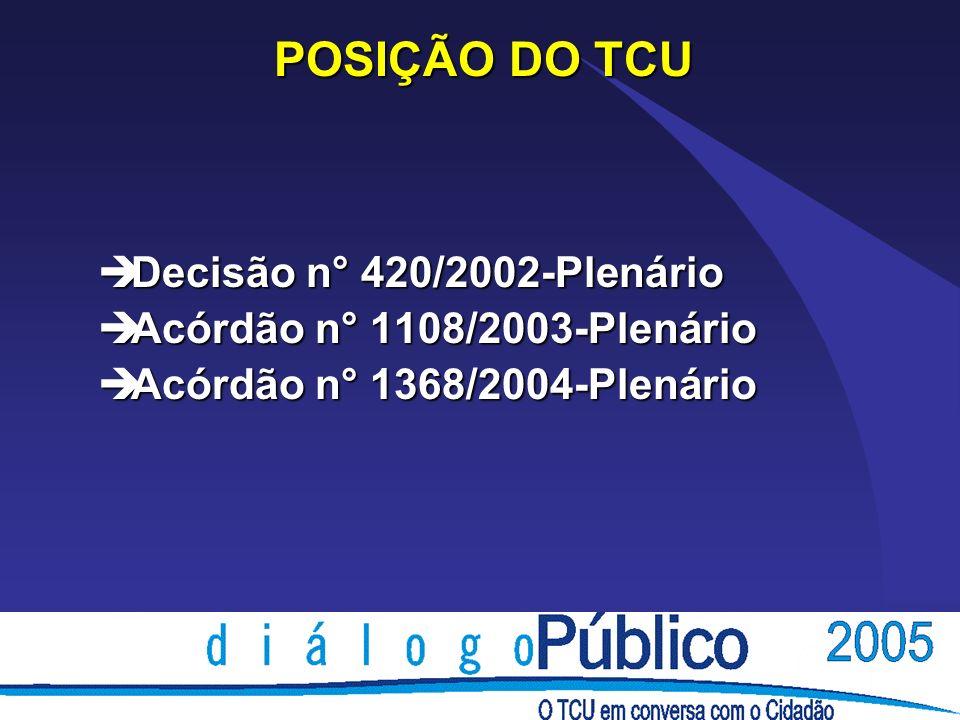 POSIÇÃO DO TCU è Decisão n° 420/2002-Plenário è Acórdão n° 1108/2003-Plenário è Acórdão n° 1368/2004-Plenário