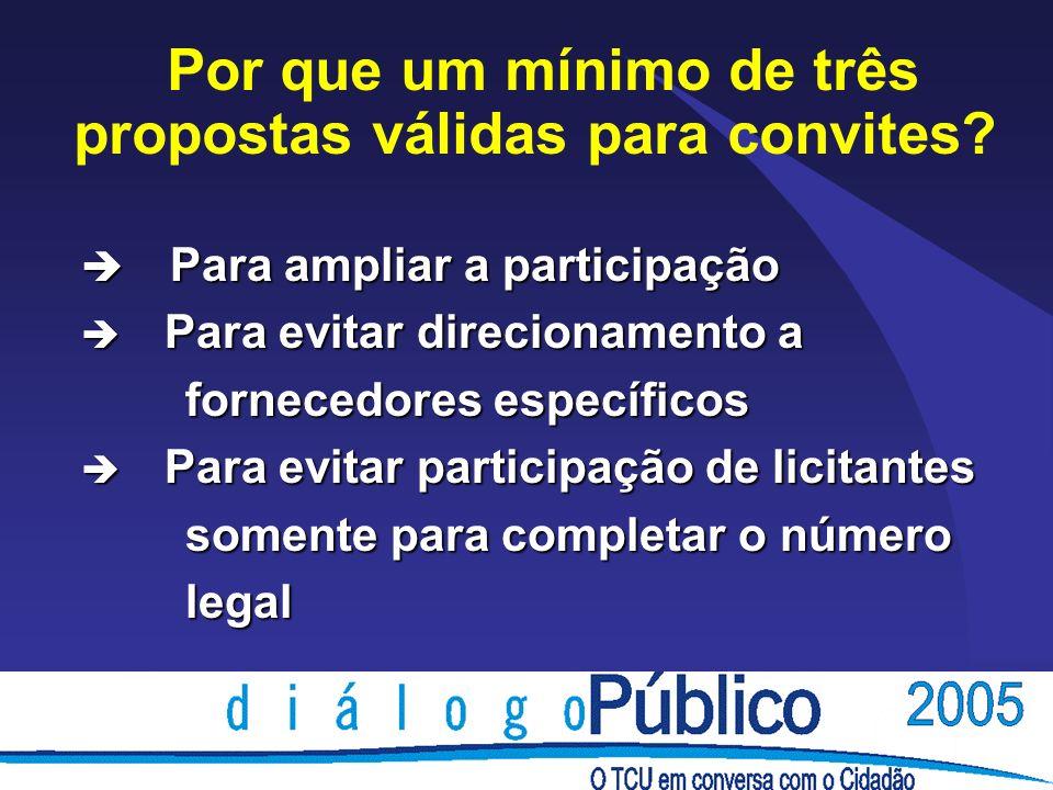 Posição do TCU Decisão n° 1102/2001-Plenário è Ao realizar licitação na modalidade convite, deve-se proceder à repetição do convite, deve-se proceder à repetição do certame sempre que não for atingido o certame sempre que não for atingido o número mínimo de três propostas válidas, número mínimo de três propostas válidas, consoante o disposto nos §§ 3º e 7º, do consoante o disposto nos §§ 3º e 7º, do art.