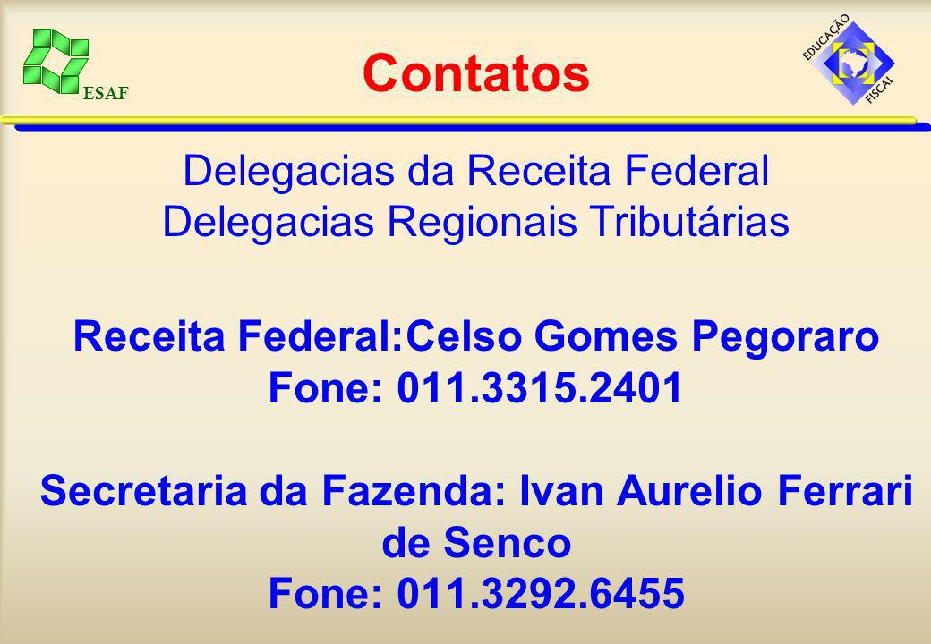 ESAF Contatos Delegacias da Receita Federal Delegacias Regionais Tributárias Receita Federal:Celso Gomes Pegoraro Fone: 011.3315.2401 Secretaria da Fa