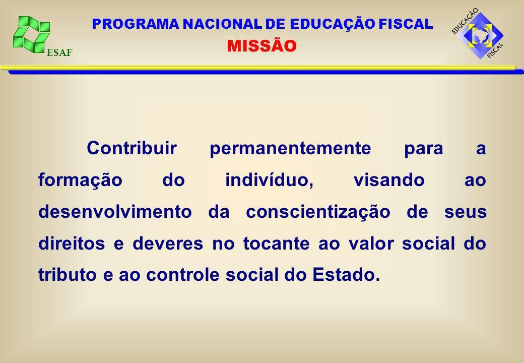 ESAF GERAL Promover e institucionalizar a educação fiscal para o pleno exercício da cidadania.ESPECÍFICOS Levar conhecimentos aos cidadãos sobre administração pública.