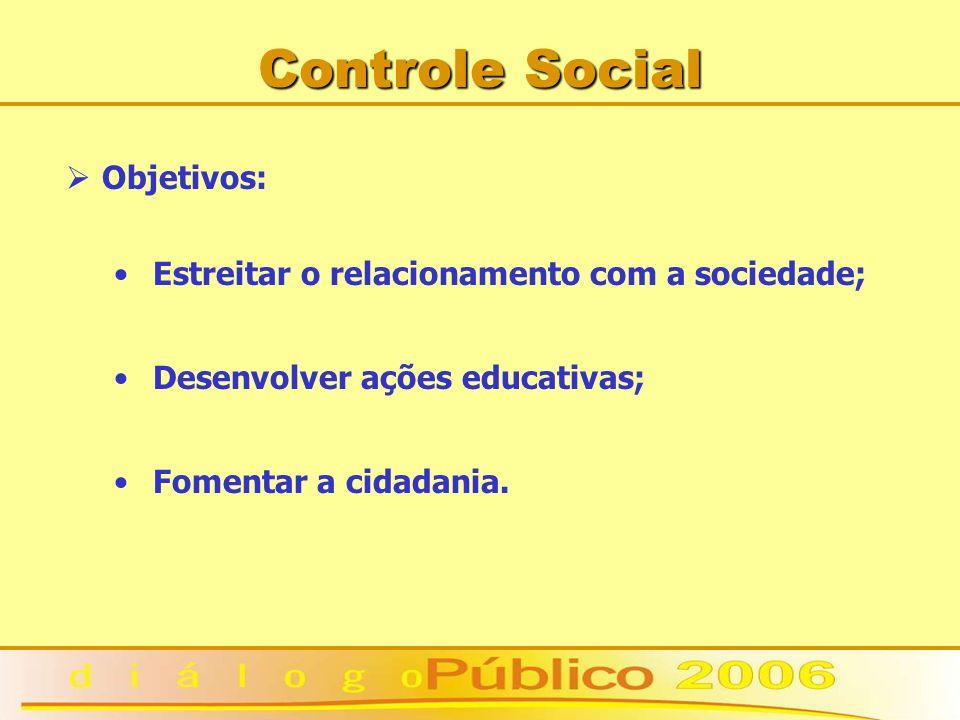 Controle Social Objetivos: Estreitar o relacionamento com a sociedade; Desenvolver ações educativas; Fomentar a cidadania.