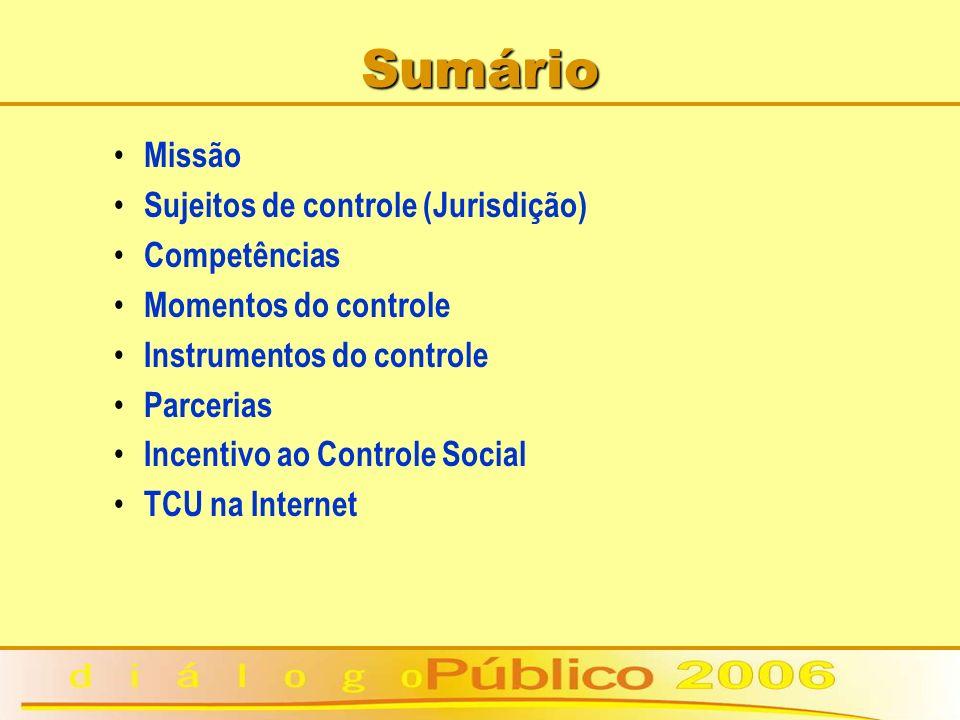 Sumário Missão Sujeitos de controle (Jurisdição) Competências Momentos do controle Instrumentos do controle Parcerias Incentivo ao Controle Social TCU