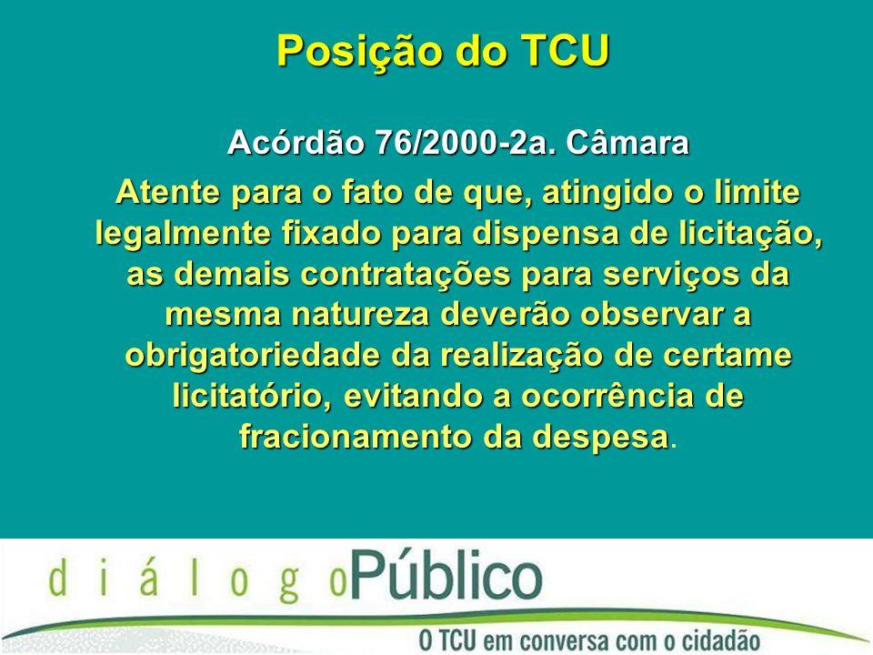 Posição do TCU Acórdão 76/2000-2a.