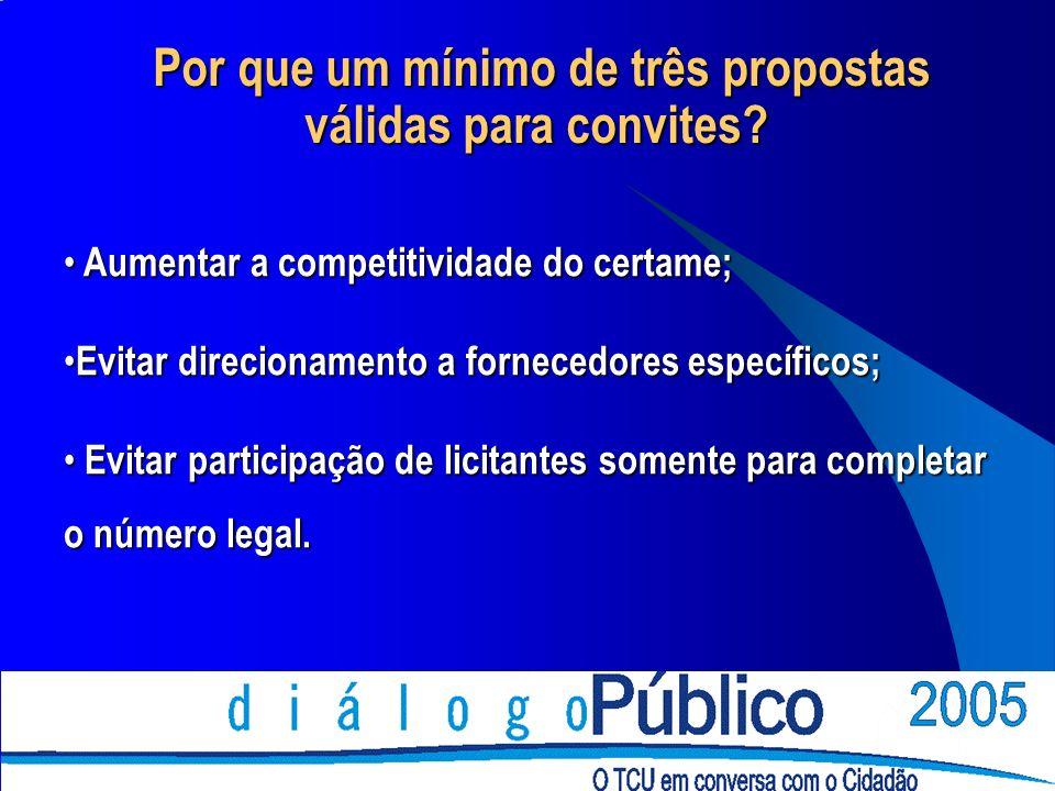 Por que um mínimo de três propostas válidas para convites? Por que um mínimo de três propostas válidas para convites? Aumentar a competitividade do ce