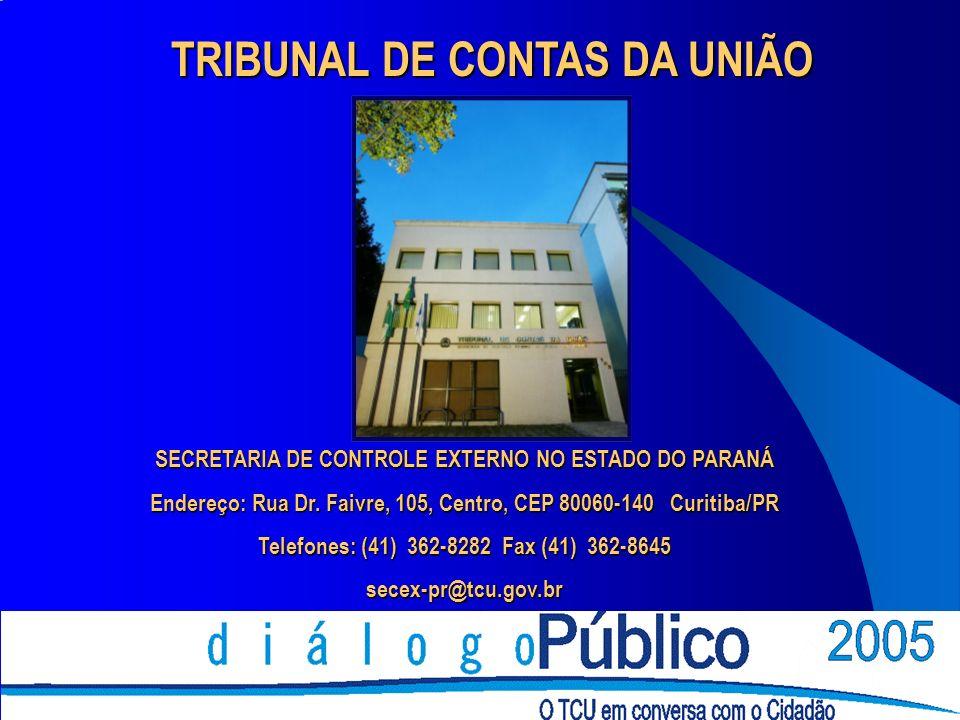 TRIBUNAL DE CONTAS DA UNIÃO SECRETARIA DE CONTROLE EXTERNO NO ESTADO DO PARANÁ Endereço: Rua Dr. Faivre, 105, Centro, CEP 80060-140 Curitiba/PR Telefo