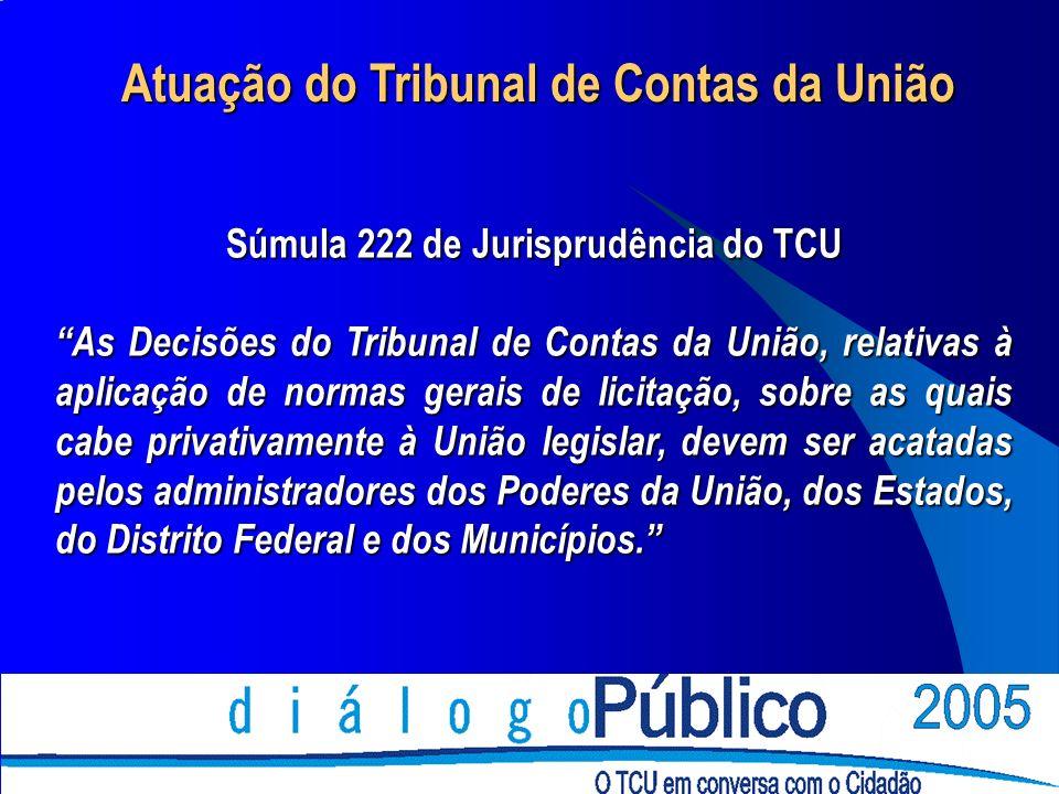 Atuação do Tribunal de Contas da União Súmula 222 de Jurisprudência do TCU As Decisões do Tribunal de Contas da União, relativas à aplicação de normas
