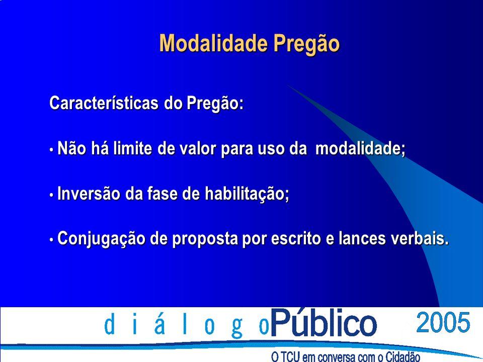 Modalidade Pregão Características do Pregão: Não há limite de valor para uso da modalidade; Não há limite de valor para uso da modalidade; Inversão da