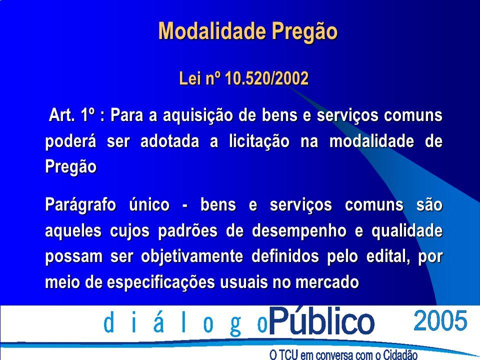 Modalidade Pregão Lei nº 10.520/2002 Art. 1º : Para a aquisição de bens e serviços comuns poderá ser adotada a licitação na modalidade de Pregão Art.