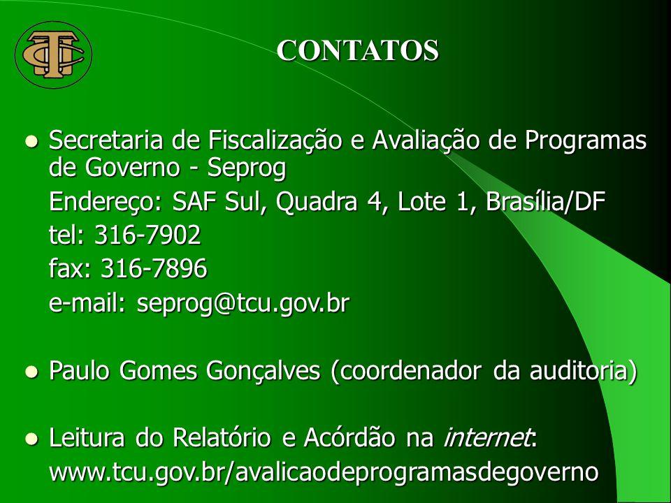 CONTATOS Secretaria de Fiscalização e Avaliação de Programas de Governo - Seprog Secretaria de Fiscalização e Avaliação de Programas de Governo - Seprog Endereço: SAF Sul, Quadra 4, Lote 1, Brasília/DF tel: 316-7902 fax: 316-7896 e-mail: seprog@tcu.gov.br Paulo Gomes Gonçalves (coordenador da auditoria) Paulo Gomes Gonçalves (coordenador da auditoria) Leitura do Relatório e Acórdão na internet: Leitura do Relatório e Acórdão na internet:www.tcu.gov.br/avalicaodeprogramasdegoverno