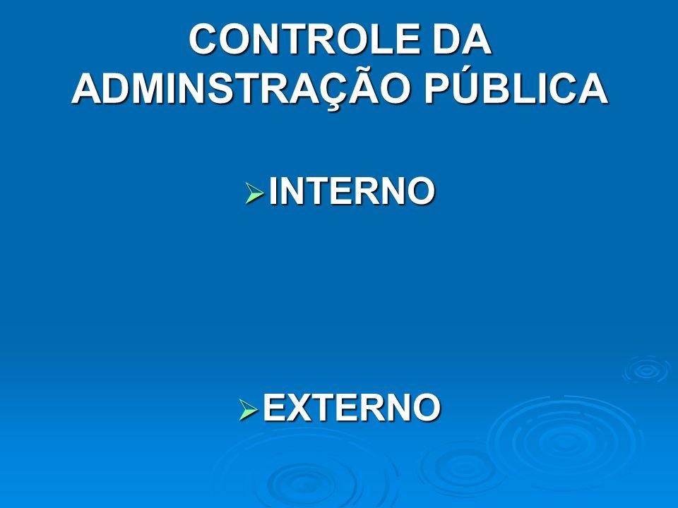 CONTROLE DA ADMINSTRAÇÃO PÚBLICA INTERNO INTERNO EXTERNO EXTERNO