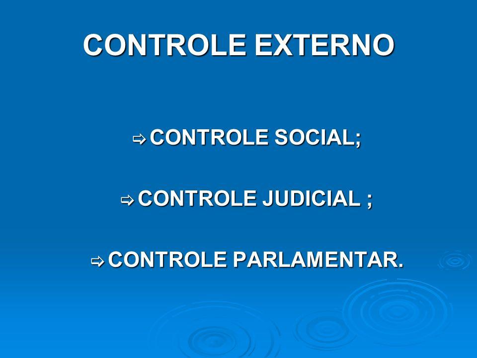 CONTROLE EXTERNO CONTROLE SOCIAL; CONTROLE SOCIAL; CONTROLE JUDICIAL ; CONTROLE JUDICIAL ; CONTROLE PARLAMENTAR. CONTROLE PARLAMENTAR.