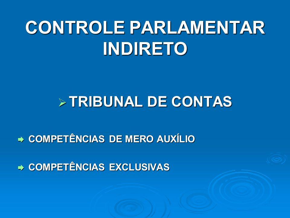 CONTROLE PARLAMENTAR INDIRETO TRIBUNAL DE CONTAS TRIBUNAL DE CONTAS COMPETÊNCIAS DE MERO AUXÍLIO COMPETÊNCIAS DE MERO AUXÍLIO COMPETÊNCIAS EXCLUSIVAS