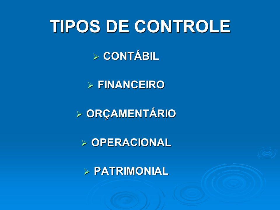 TIPOS DE CONTROLE CONTÁBIL CONTÁBIL FINANCEIRO FINANCEIRO ORÇAMENTÁRIO ORÇAMENTÁRIO OPERACIONAL OPERACIONAL PATRIMONIAL PATRIMONIAL