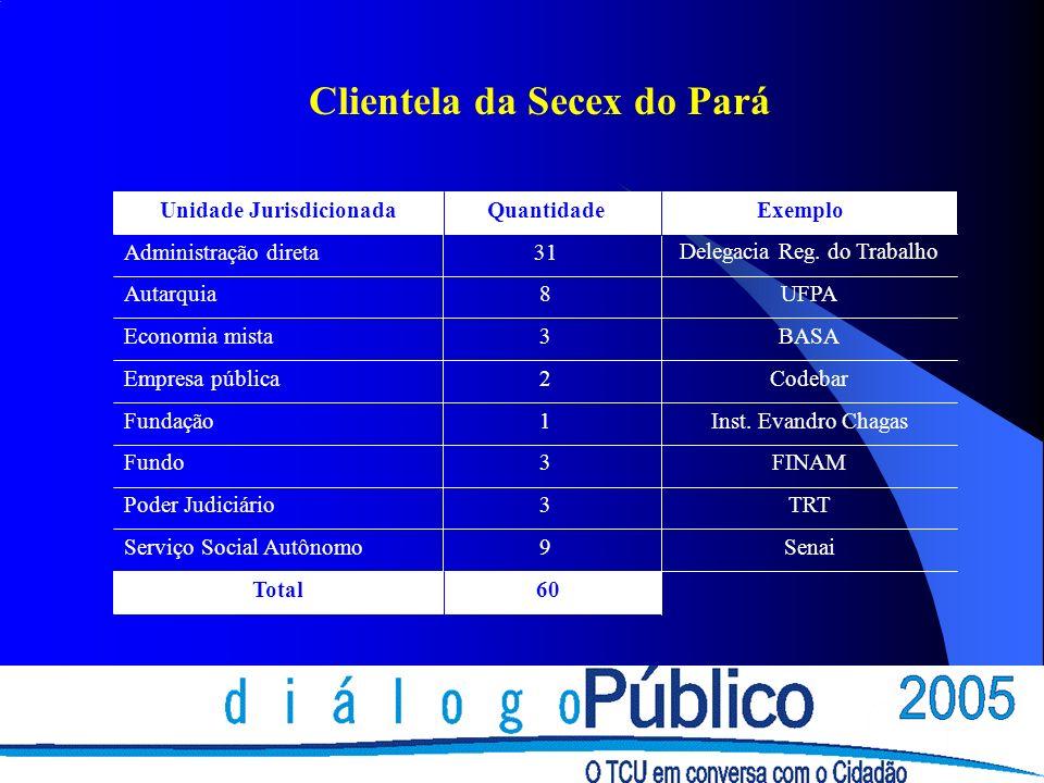Clientela da Secex do Pará 60 Total 9Serviço Social Autônomo 3Poder Judiciário 3Fundo 1Fundação 2Empresa pública 3Economia mista 8Autarquia 31Administ