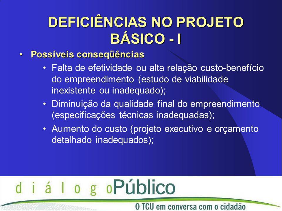 Possíveis conseqüênciasPossíveis conseqüências Falta de efetividade ou alta relação custo-benefício do empreendimento (estudo de viabilidade inexistente ou inadequado); Diminuição da qualidade final do empreendimento (especificações técnicas inadequadas); Aumento do custo (projeto executivo e orçamento detalhado inadequados); DEFICIÊNCIAS NO PROJETO BÁSICO - I